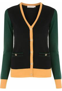 Tory Burch Cardigan Madeline Color Block - Preto