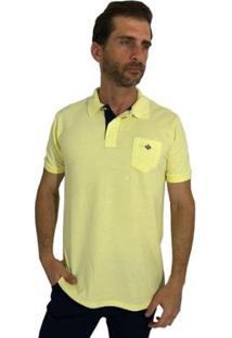 Camisa Polo Mister Fish Slim Com Bolso Bb Masculina - Masculino-Amarelo Claro