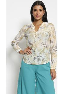 Blusa Floral Com Seda- Branca Bege Claro- Vip Resevip Reserva
