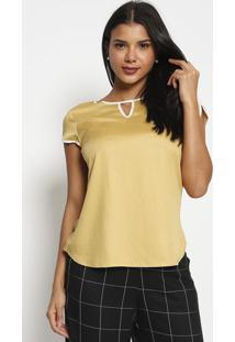 Blusa Com Viã©S- Amarelo Claro & Off White- Vip Reservip Reserva