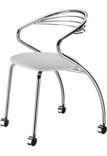 Cadeira Angola Cromada Com Rodizios Corino Branco 8832 Sun House