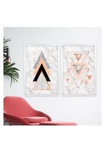 Quadro Com Moldura Chanfrada Triângulos Branco - Médio