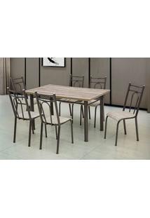 Conjunto De Mesa Com 6 Cadeiras Marta Preto