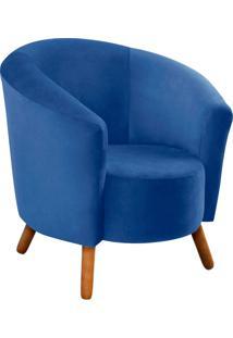 Poltrona D'Rossi Decorativa Angel Suede Azul Royal Com Pés Palito