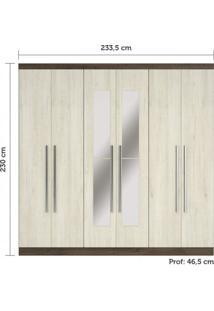 Guarda Roupa Casal Com Espelhos, 6 Portas E 3 Gavetas Internas Miami Siena Móveis Castanho Rústico/Ártico Rústico