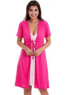Camisola Luna Cuore Gestante Amamentação Com Robe - Feminino-Pink