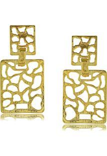 Brinco Retangular Com Detalhes Abstratos 3Rs Semijoias Dourado