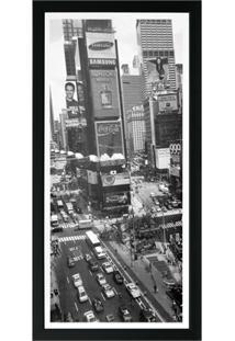 Quadro Em Madeira Com Vidro Cidades Times Square 27X54Cm