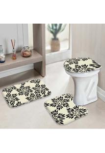 Jogo Tapetes Para Banheiro Flowers