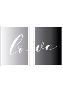 Conjunto De Quadros Decorativos Love Ii Cinza E Preto (45X32)
