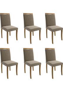 Conjunto Com 6 Cadeiras De Jantar Laura Suede Madeira E Joli