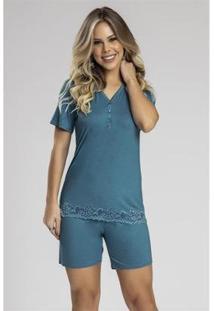 Pijama Recco Viscose Stretch Com Renda Feminino - Feminino-Azul