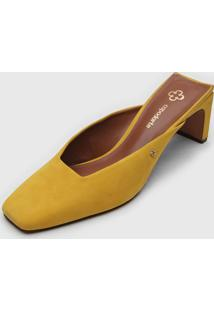 Scarpin Mule Capodarte Bico Quadrado Amarelo