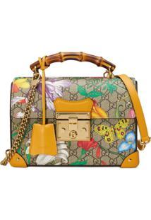 Gucci Padlock Detail Flora Pattern Shoulder Bag - Amarelo