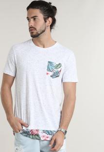 Camiseta Masculina Longa Com Bolso Estampado De Folhagem Manga Curta Gola Careca Branca