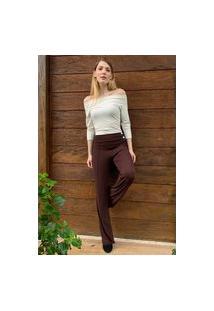 Calça Pantalona Amazonia Vital Malha Com Botão Madrepérola E Bolso Marrom
