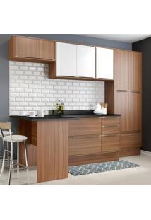 Cozinha Compacta 11 Portas C/ Tampo E Rodapé 5454R Nogueira/Branco - Multimóveis