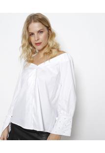 Camisa Com Pérolas - Branca- Ahaaha