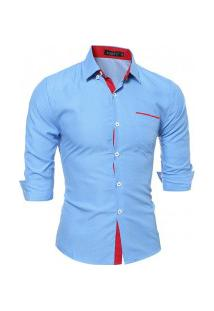Camisa Masculina Textura De Bolinha 7676 - Azul Claro