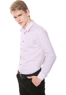 Camisa Calvin Klein Slim Padronagem Rosa
