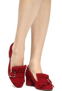 Scarpin Couro Shoestock Salto Médio Franja - Feminino-Vermelho