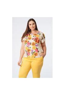 Blusa Almaria Plus Size Munny Estampada Off-White