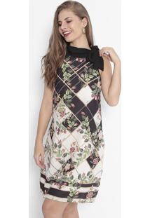 Vestido Floral Com Amarração - Preto & Off Whitehandara