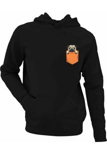 Moletom Criativa Urbana Pug In The Pocket Tumblr Casaco Blusa Preto