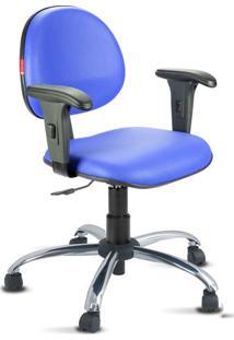 Cadeira Escritório Azul Royal Cromada Com Braços
