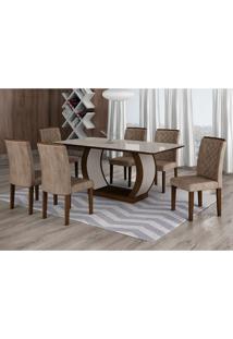 Conjunto De Mesa De Jantar Com 6 Cadeiras Maia Iii Suede Animalle Castor E Chocolate