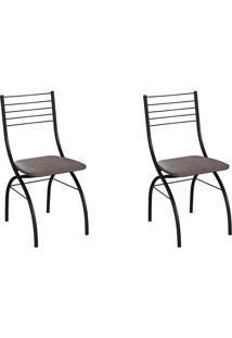 Conjunto Com 2 Cadeiras Devon Marrom E Preto