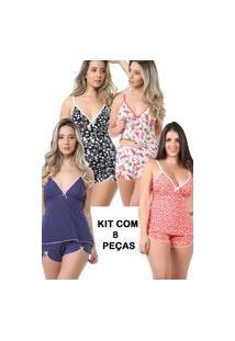 Pijama Isa Lingerie Kit 8 Baby Doll Estampado