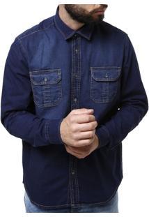 Camisa Jeans Urban City Manga Longa Masculina - Masculino