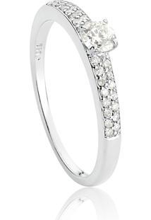 Anel De Ouro Branco 18K Solitário Com Aro Pavê De Diamantes-Coleção Diamantes