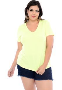 Blusa Arimath Plus T-Shirt Plus Size Amarelo Neon-60