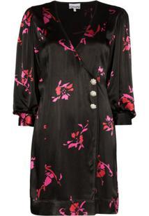 Ganni Vestido Com Estampa Floral - Preto