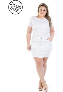 Saia Jeans Plus Size - Confidencial Extra Curta Branca Com Elastano