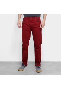 Calça Ellus 2Nd Floor Color Light Ii (Stefan) Masculina - Masculino-Vermelho Escuro