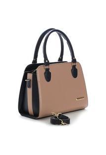 Bolsa Feminina Metalessê Bicolor Santorini Handbag Preto/Nude