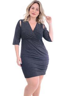 Vestido Plus Size Justo: Preto: 46