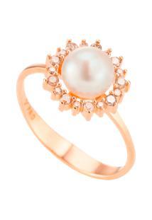 Anel Ouro Rosé Pérola E Diamantes