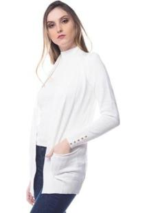Cardigan Logan Tricot Modal Com Bolso Conforto Feminino - Feminino-Off White