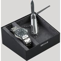 cd36467fb47 Kit De Relógio Analógico Seculus Masculino + Canivete - 28867G0Svna1K1  Prateado - Único