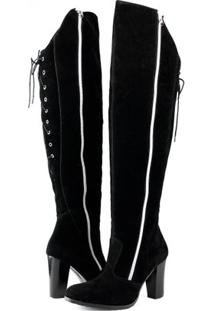 Bota Over The Knee Com Ziper Florense - Feminino-Preto