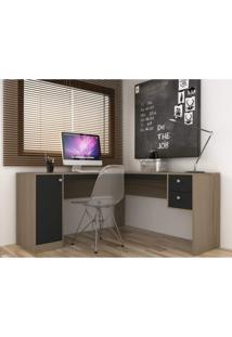Escrivaninha Para Escritório 1 Porta 2 Gavetas Home Office Hecol Móveis Avelã/Onix