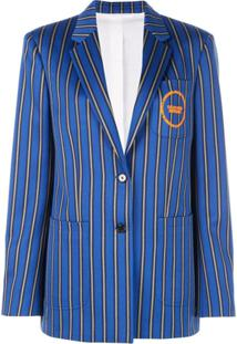 Calvin Klein Blazer Oversized Listrado - Azul