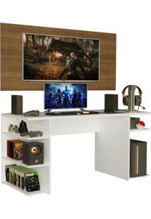 Mesa Gamer Madesa 9409 E Painel Para Tv Atã© 50 Polegadas - Branco/Rustic Branco - Branco - Dafiti