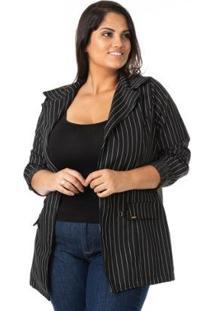 Blazer Alongado Risca De Giz Plus Size Confidencial Extra Feminina - Feminino-Preto