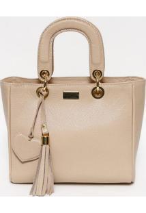 Bolsa Em Couro Com Bag Charm- Nude & Dourada- 22X30Xgregory