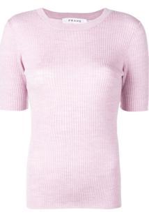 Frame Blusa Canelada De Tricô - Roxo